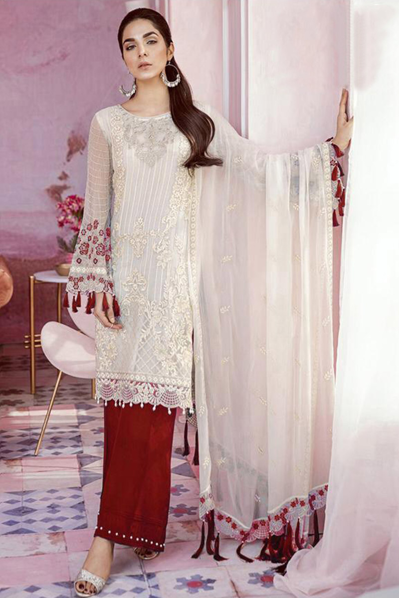White Georgette Palazzo Pant Suit With Resham Work