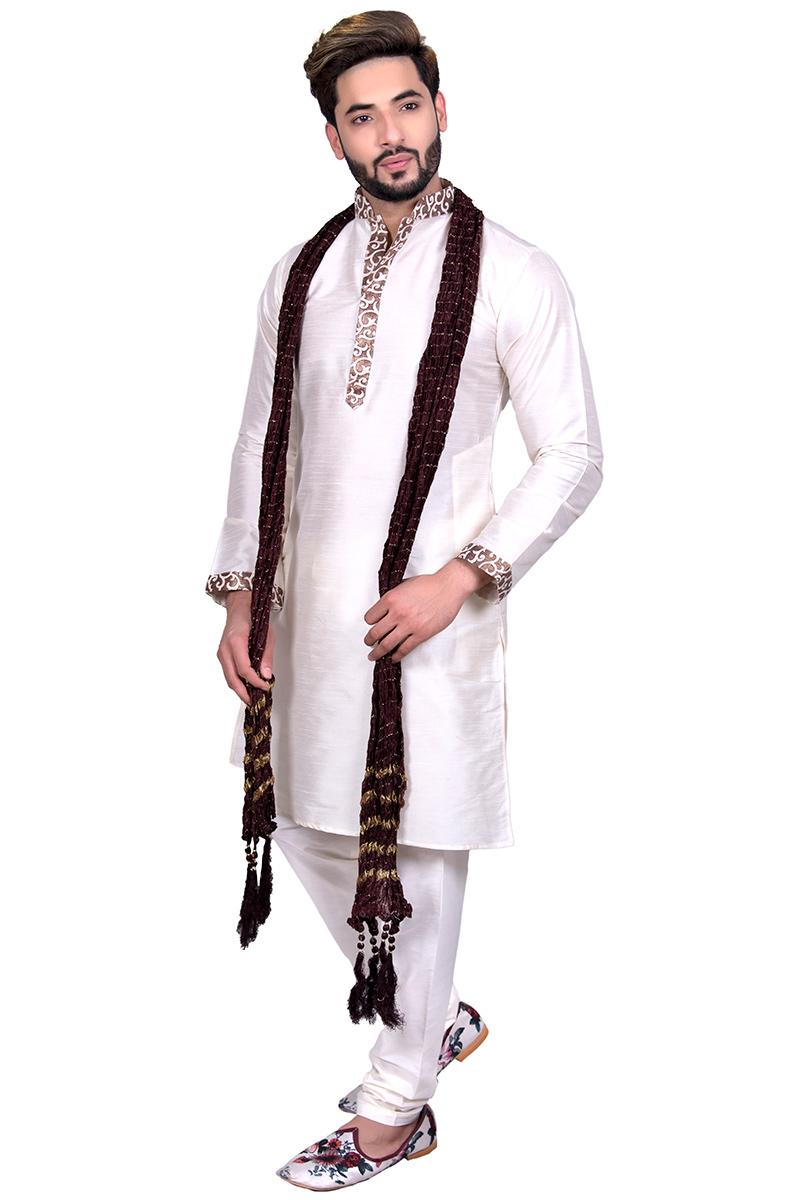 White Raw Silk Kurta Pajama With Stole