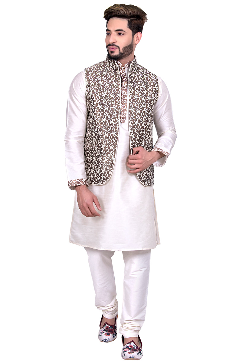 White Raw Silk Kurta Pajama With Waist Coat