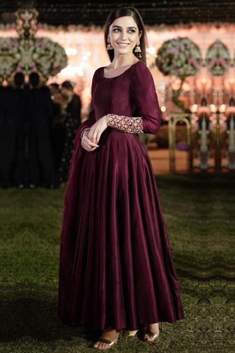 Wine Color Silk Wedding Anarkali Suit With Zardosi Work