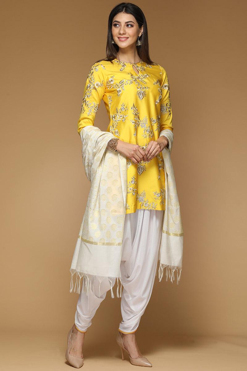 Yellow Taffeta Silk Patiala Suit With Zari Work