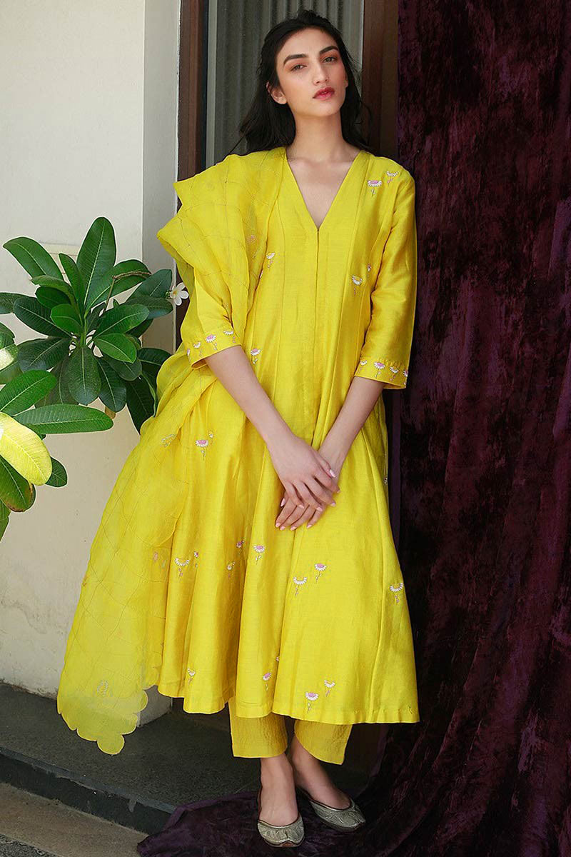 Yellow Silk Anarkali Suit With Resham Work