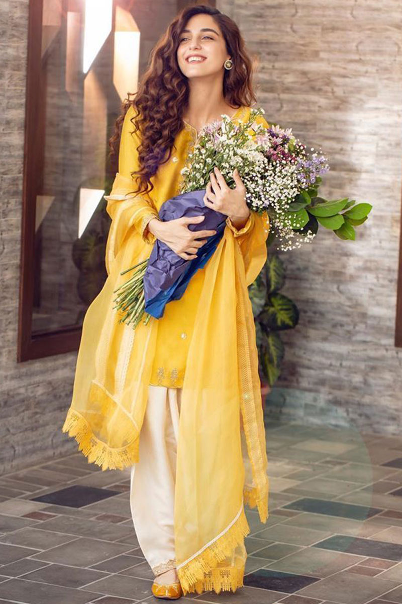 Yellow Slub Silk Pakistani Patiala Suit With Zari Work