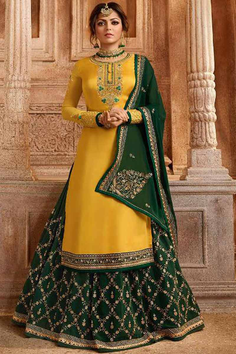 Yellow With Dark Green Lehenga Choli