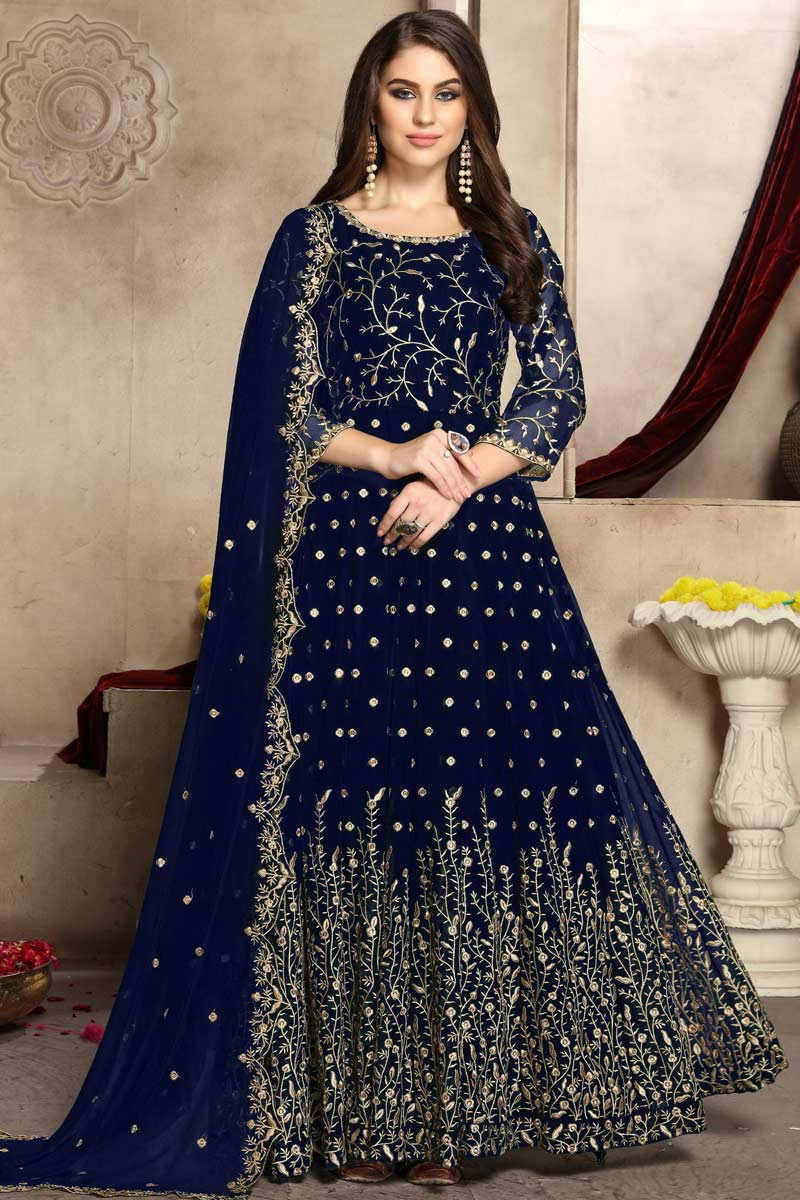 Online Blue Anarkali Suits USA - Zari Embroidered Georgette Navy Blue Anarkali Suit