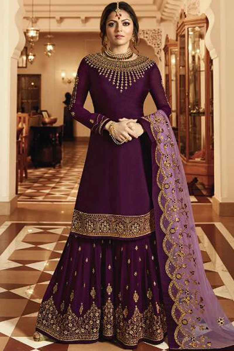 Online Sharara Suits USA - Zari Embroidered Georgette Rasin Violet Sharara Suit