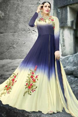 10119c239d8 Elegant Georgette Anarkali Suit in Blue with Cream Color with Res.