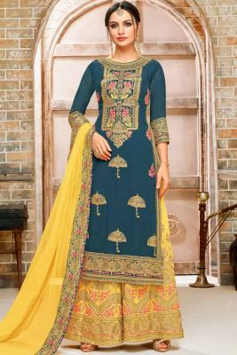 edd9f9f8aeb Blue Georgette Embroidered Palazzo Pant SuitRM 545RM 818View Details
