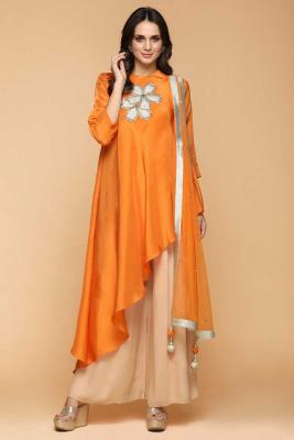 9b8e1923ca9 Resham Embroidered Silk Pumpkin Orange Straight Pant SuitRM 595RM 780View  Details