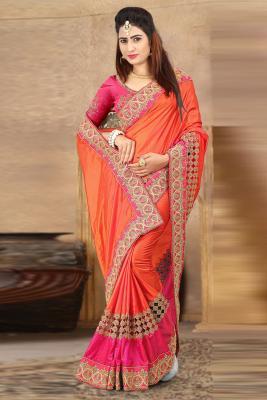 38bbb4dcbd47d0 Stylish Orange Silk Saree With Banglori Silk Blouse  141  190View Details