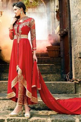 7bab3543d9e Red Georgette Anarkali Suit With Cigarette pant  176  352View Details