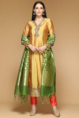 118fe7a95b7 Resham Embroidered Dupion Golden Yellow Straight Pant SuitRM 575View Details